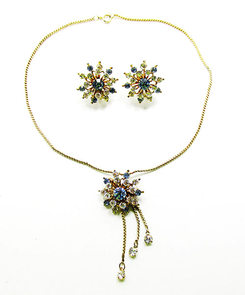 Coro Stunning Vintage Retro Floral Pendant/Pin and Earrings Set
