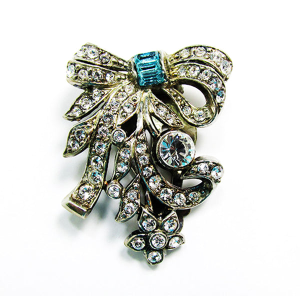 Lisner Vintage 1930s Designer Jewelry Art Deco Diamante Dress Clip - Front