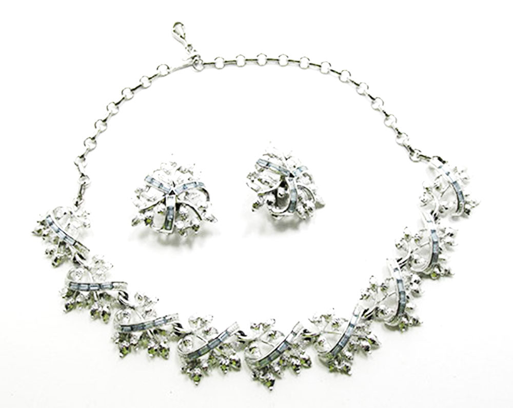 Coro 1950s Vintage Diamante Sapphire Floral Necklace and Earrings Set - Front