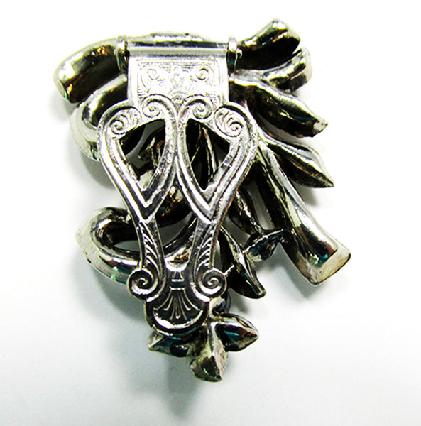 Lisner Vintage 1930s Designer Jewelry Art Deco Diamante Dress Clip - Mechanism