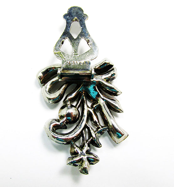 Lisner Vintage 1930s Designer Jewelry Art Deco Diamante Dress Clip - Back