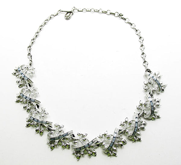 Coro 1950s Vintage Diamante Sapphire Floral Necklace and Earrings Set - Necklace