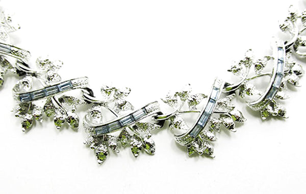 Coro 1950s Vintage Diamante Sapphire Floral Necklace and Earrings Set - Close Up