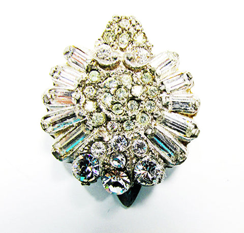 Vintage 1930s Eye-Catching Dainty Art Deco Clear Diamante Dress Clip - Front