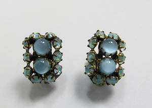 Czechoslovakia Vintage Retro 1930s Blue Moonstone Geometric Earrings