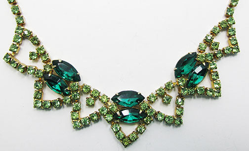 Vintage 1950s Beautiful Emerald and Peridot Rhinestone Necklace
