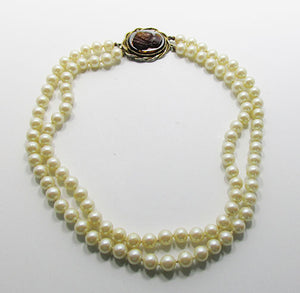 Whiting and Davis Vintage 1950s Beautiful Pearls with Cameo Necklace