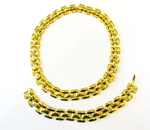 Vintage 1970s Retro Contemporary Style Gold Link Necklace and Bracelet
