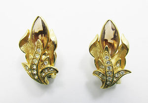 Dazzling Vintage 1950s Mid-Century Button Style Floral Earrings