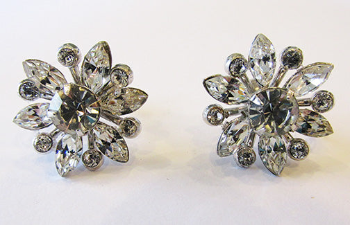 Coro Vintage Dainty Mid-Century Floral Rhinestone Button Earrings