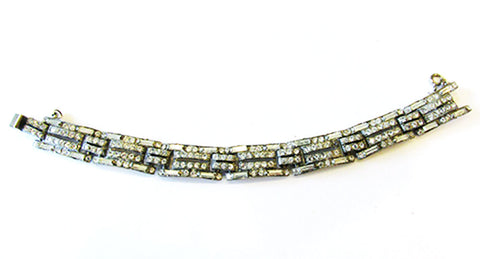 Vintage Costume Jewelry 1930s Striking Art Deco Diamante Bracelet - Front