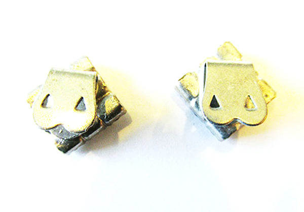 Vintage 1930s Accessory Dainty Geometric Diamante Shoe Clips - Back
