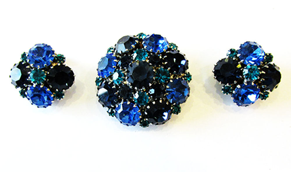 Weiss 1950s Vintage Jewelry Mid-Century Blue Diamante Pin and Earrings - Front