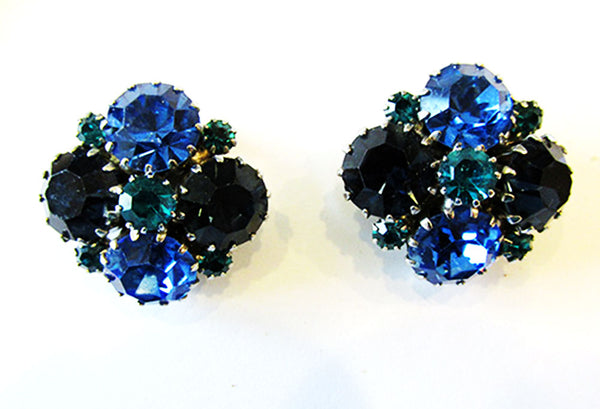 Weiss 1950s Vintage Jewelry Mid-Century Blue Diamante Pin and Earrings - Earrings