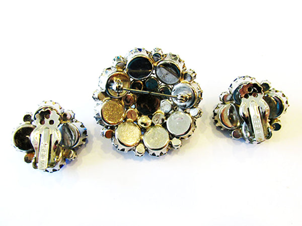 Weiss 1950s Vintage Jewelry Mid-Century Blue Diamante Pin and Earrings - Back