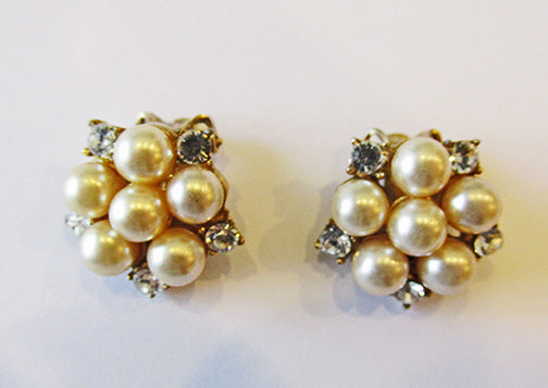 Vintage 1950s Elegant Mid-Century Rhinestone and Pearl Button Earrings