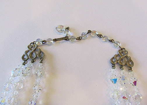 Vintage 1950s Mid-Century Dazzling Three Strand Crystal Necklace