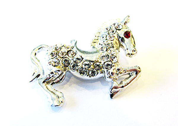 Vintage 1960s Costume Jewelry Whimsical Diamante Figural Horse Pin - Front