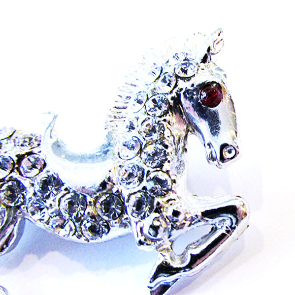 Vintage 1960s Costume Jewelry Whimsical Diamante Figural Horse Pin - Close Up