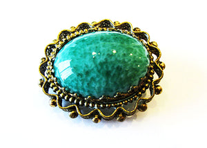 West Germany Vintage 1950s Mid-Century Lovely Timeless Cabochon Pin