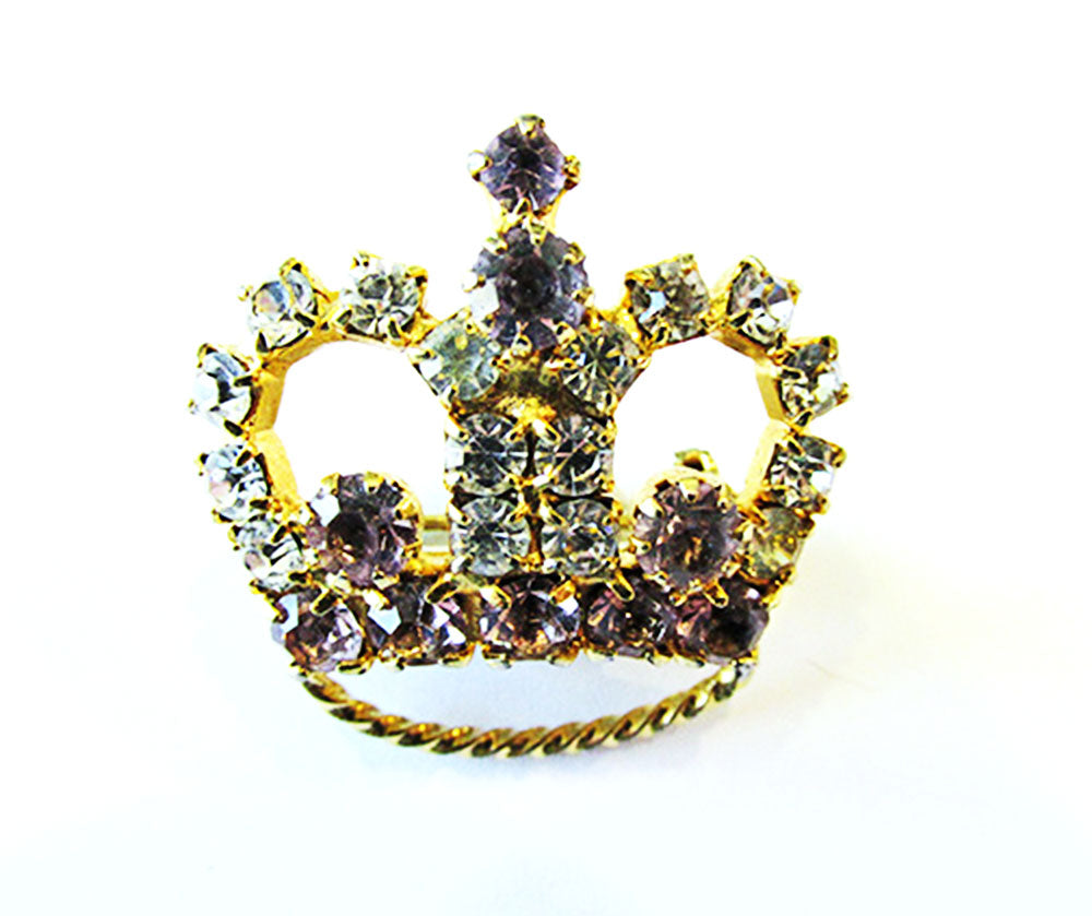 1950s Vintage Jewelry Delightful Clear and Lavender Diamante Crown Pin - Front