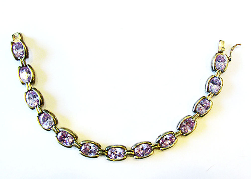 Vintage DBJ Contemporary Style Amethyst and Sterling Link Bracelet