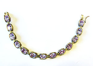 Vintage DBJ Contemporary Style Amethyst and Sterling Link Bracelet - Front