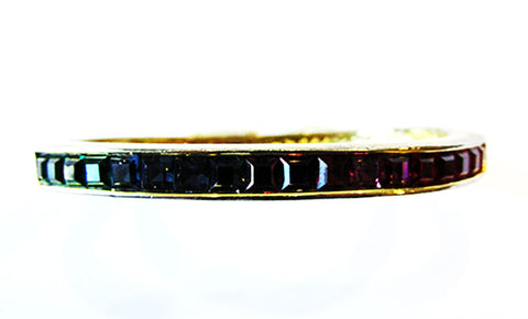 Signed Roman Vintage Multi-Colored Minimalist Diamante Bangle Bracelet - Front