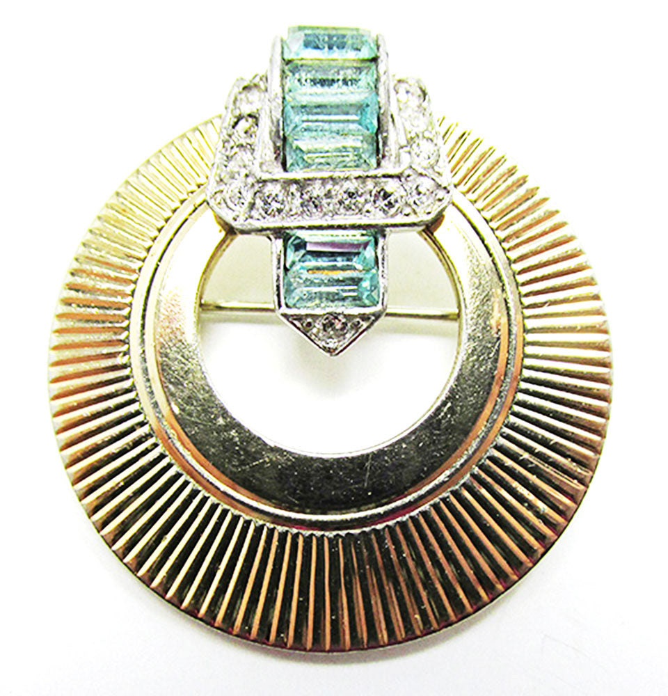 Boucher Vintage 1950s Iconic Mid Century Aquamarine Circle Pin