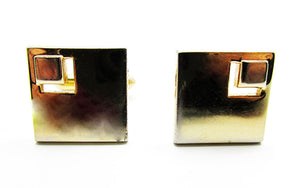 Swank 1960s Vintage Men's Jewelry Elegant Gold Geometric Cufflinks - Front