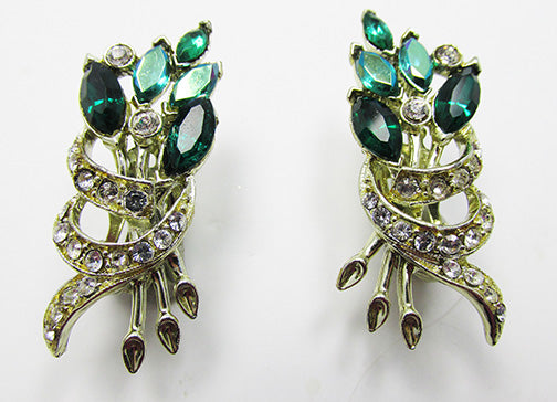 Vintage 1950s Mid-Century Unique Emerald Green Floral Earrings