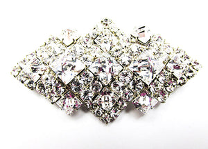 Vintage 1950s Costume Jewelry Eye-Catching Geometric Diamante Pin - Front