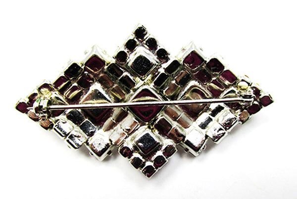 Vintage 1950s Costume Jewelry Eye-Catching Geometric Diamante Pin - Back