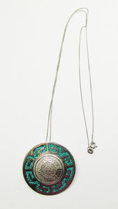 Mexico Vintage Aztec Calendar Turquoise and Sterling Pin/Pendant