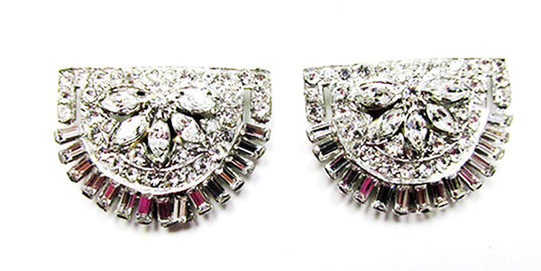 Stunning Vintage 1930s Jewelry Superb Art Deco Diamante Dress Clips - Front
