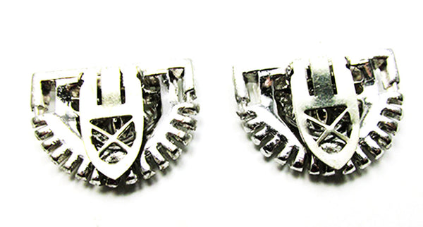 Stunning Vintage 1930s Jewelry Superb Art Deco Diamante Dress Clips - Back