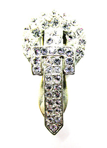 Vintage 1930s Costume Jewelry Art Deco Dainty Diamante Dress Clip - Front