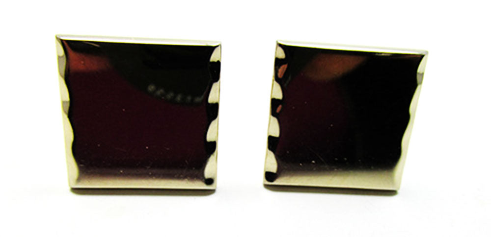 Swank Unique Vintage 1960s Retro Geometric Etched Gold Men's Cufflinks