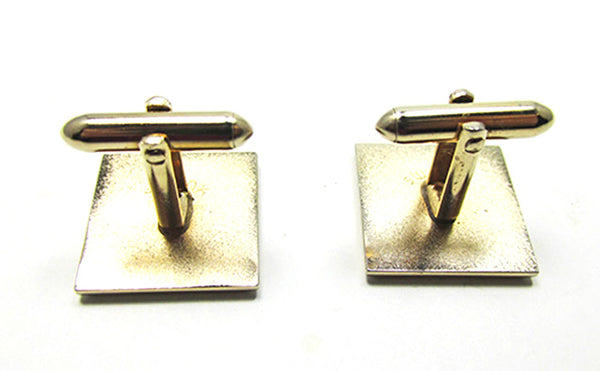 Swank Men's Vintage Jewelry 1960s Retro Gold Etched Cufflinks - Back