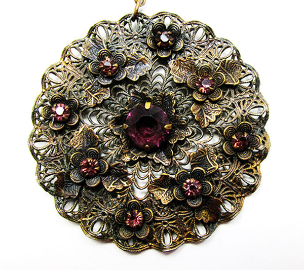 1920s Vintage Jewelry Art Nouveau Amethyst Diamante Floral Pendant - Close Up