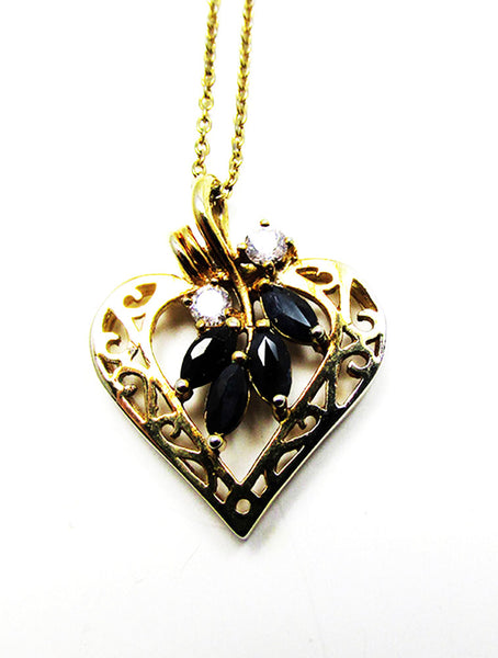 Vintage 1980s Jewelry Desirable CZ and Sapphire Gold Heart Pendant - Close Up