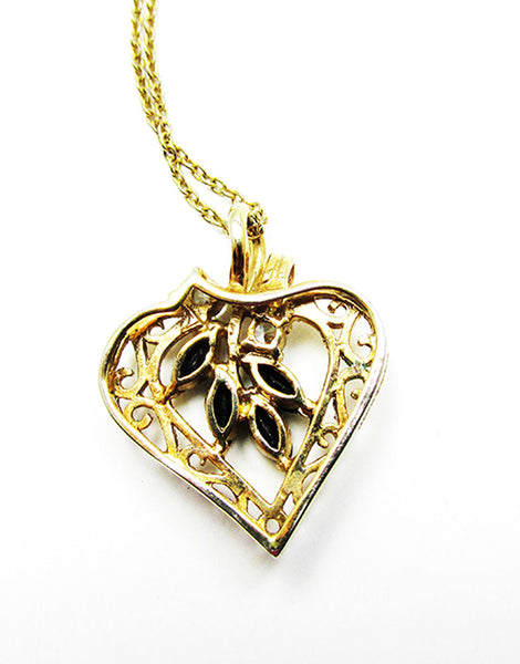 Vintage 1980s Jewelry Desirable CZ and Sapphire Gold Heart Pendant - Back
