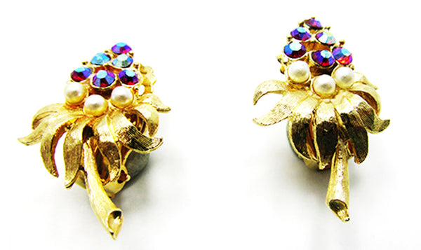 Dazzling Vintage Mid-Century Aurora Borealis and Pearl Floral Earrings