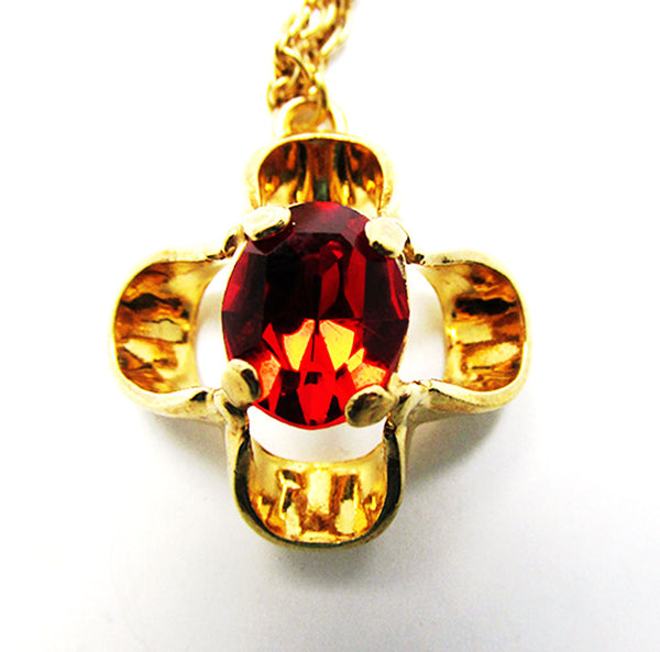Vintage Krementz Distinctive 1960s Retro Ruby Red Rhinestone Pendant