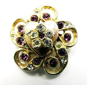 Adorable Vintage 1950s Mid-Century Floral Heart Rhinestone Locket Pin