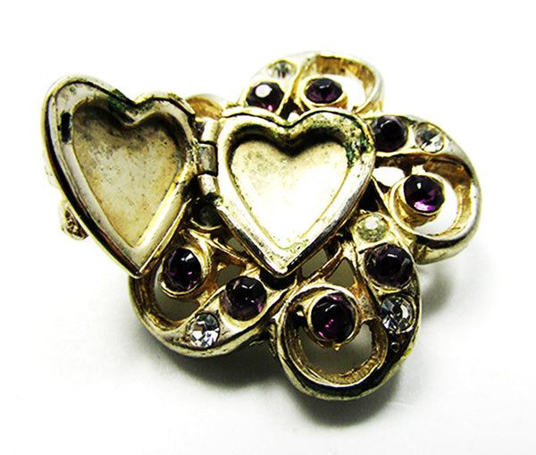 Vintage 1950s Jewelry Adorable Diamante Floral Heart Locket Pin - Locket