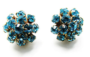 Vintage 1950s Jewelry Dainty Mid-Century Aquamarine Diamante Earrings - Front