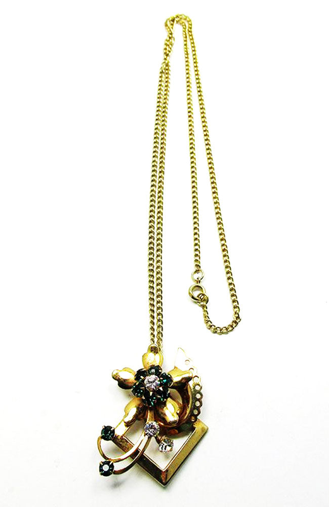 Vintage 1940s Retro Eye-Catching Avant-Garde Abstract Floral Pendant