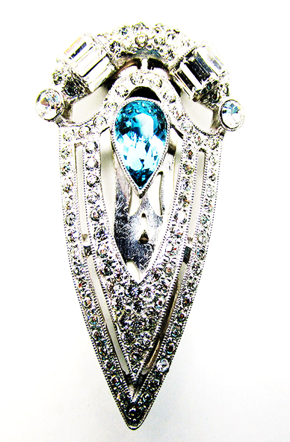 Exceptional Vintage 1930s Retro Art Deco Rhinestone Dress Clip