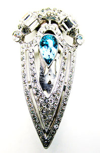 Vintage 1930s Costume Jewelry Exceptional Art Deco Diamante Dress Clip - Front